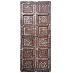 Double Panel Moroccan Multi-Color Wooden Door, 23ND33