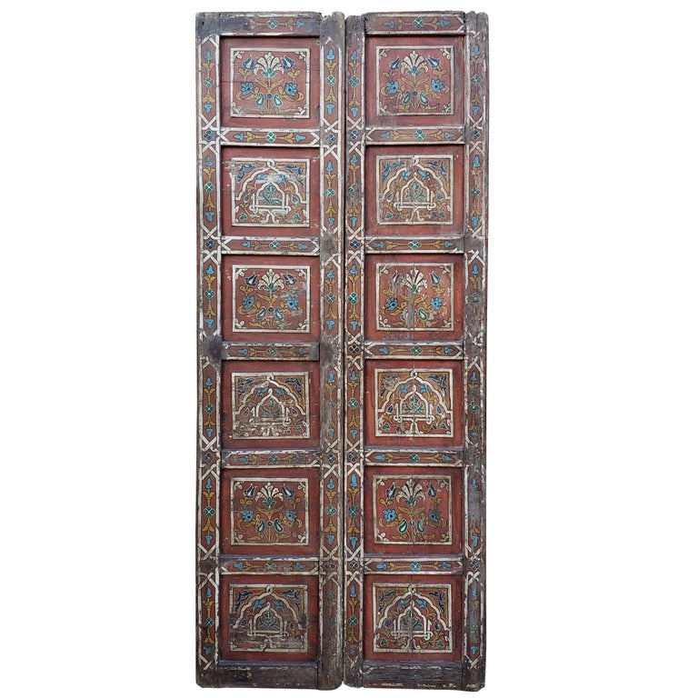 Double Panel Moroccan Multi-Color Wooden Door, 23ND33 For Sale