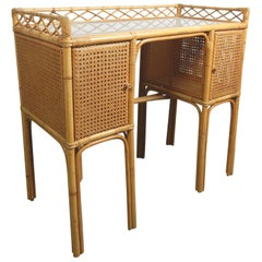1950s Rattan Cane Wicker and Glass Letter Desk