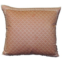 "Vintage Fortuny Coral Pillow in ""Canestrelli"" Pattern Decorative Pillow"