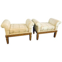 Pair of Italian Neoclassical Style Window Benches Creme Painted