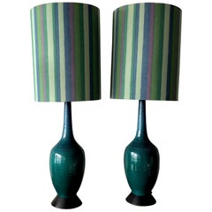 Pair of Charming Turquiose Lamps with Original Shades