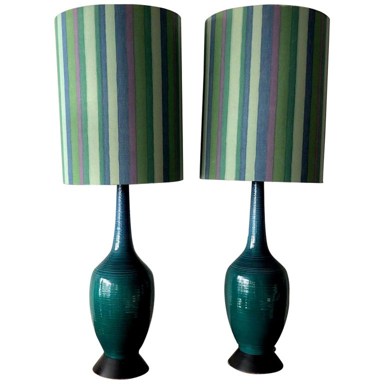Pair of Charming Turquiose Lamps with Original Shades For Sale