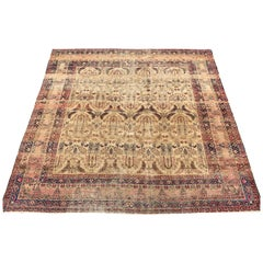 Antique Square Persian Lavar Kerman Area Rug, circa 1890