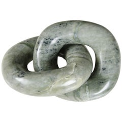 Double Ring Link Sculpture, Nephrite Jade by Robert Kuo, Hand Carved