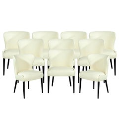 Set of 10 Custom Sculpted Curved Mid-Century Modern Upholstered Dining Chairs