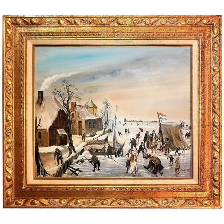 Dutch Ice Skating Oil on Canvas by Van Buiksloot For Sale