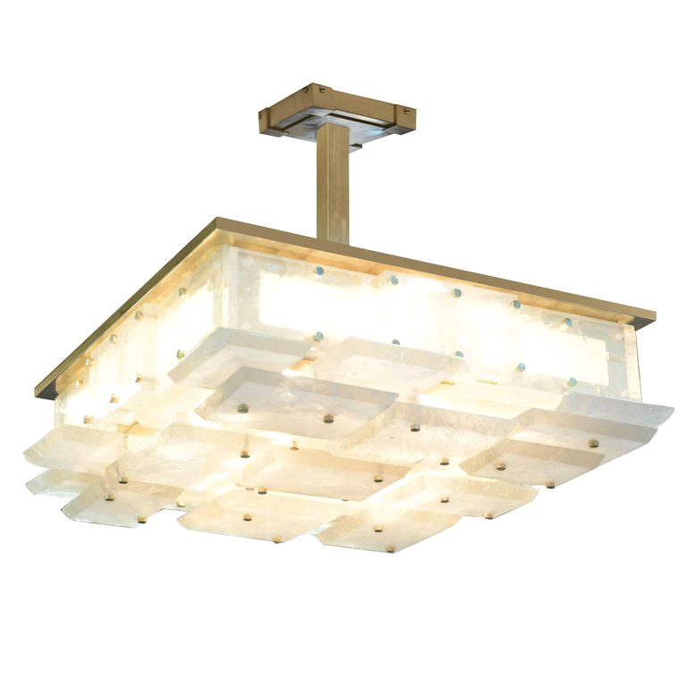 CPS Rock Crystal Semi Flush Mount by Phoenix For Sale