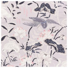 Schumacher Lotus Garden Japanese Natural Motif Lilac Wallpaper, Two Roll Set