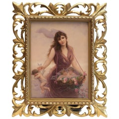 Very Fine KPM Porcelain Plaque Beauty Collecting Cherubs, Signed Walther