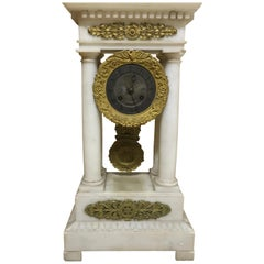 French Charles X Marble and Brass Portico Mantel Clock