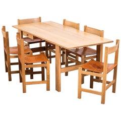 Scandinavian Midcentury Oak and Leather Dining Set, 1960s