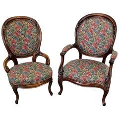 Pair of Vintage Victorian Parlor Set Ladies and Gentleman Chairs