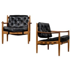 "Pair of Black Leather ""Läckö"" Easy Chairs by Ingemar Thillmark, 1960s"