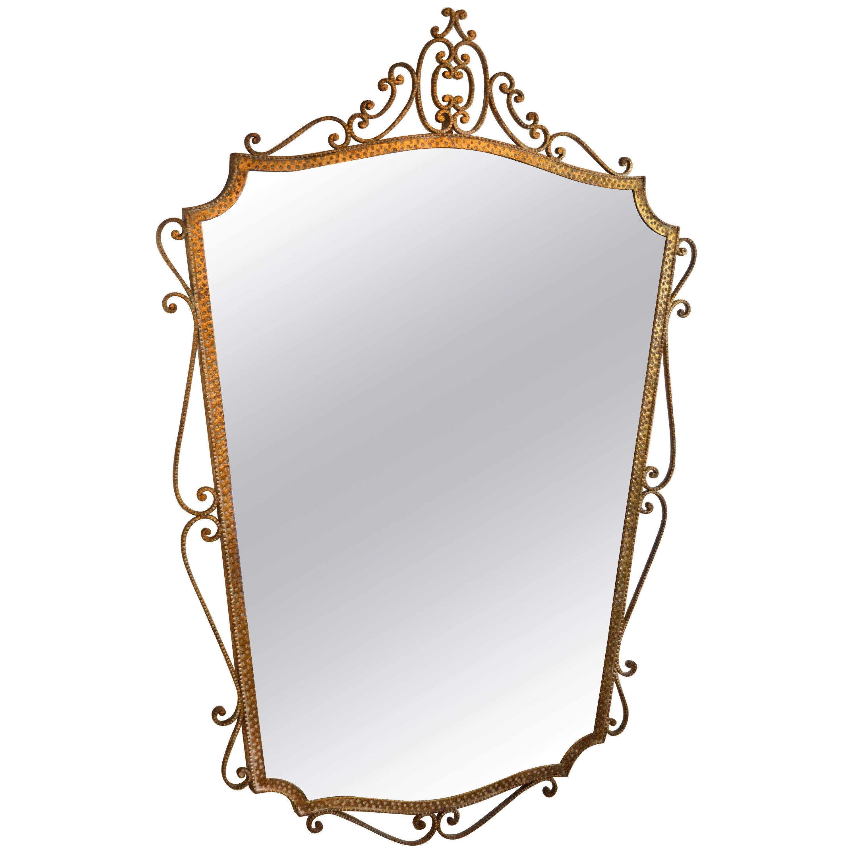 Art Deco Style Italian Gilt Wrought Iron Wall Mirror by Pier Luigi Colli