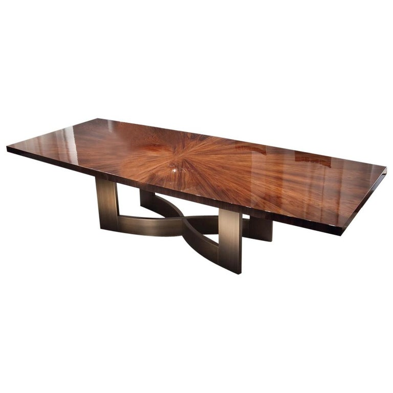 Giorgio Collection Rectangular Table In Brazilian Rosewood High Gloss Finish For