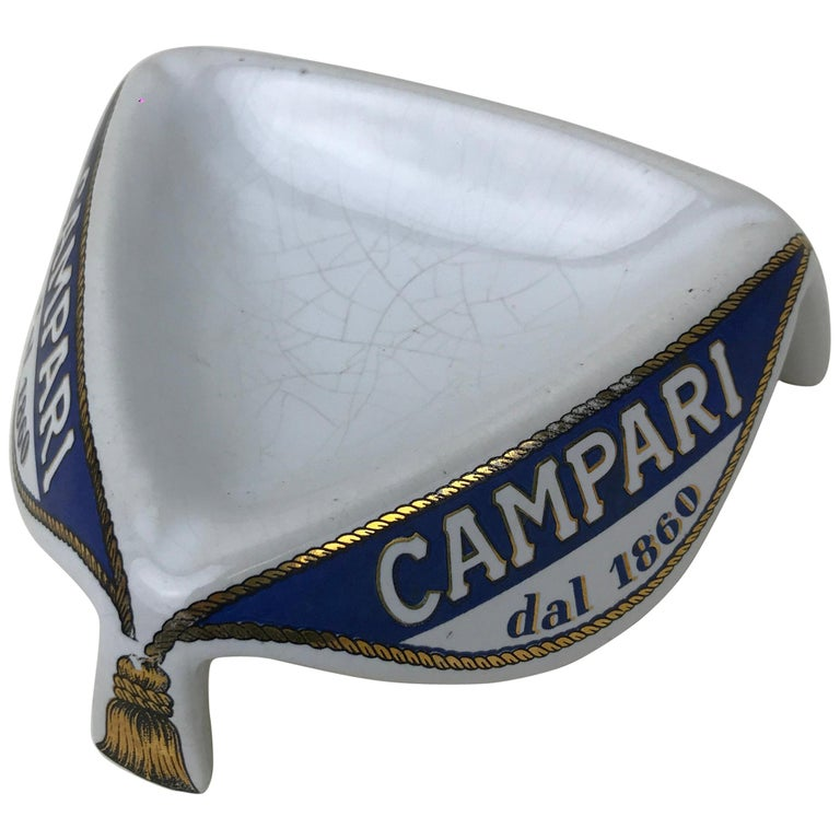 1960s Vintage Advertising Campari Triangular Cerami Ashtray with Tassels Motif For Sale