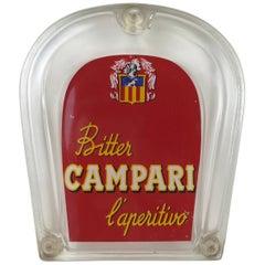 1960s Italian Vintage Adv Glass Bitter Campari Horseshoe Shaped Money Tray