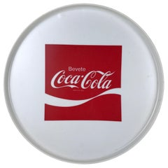1970s Vintage Advertising Round Plastic Bar Tray Drink Coca-Cola Made in Italy