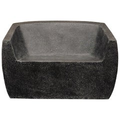Cast Resin Van Dyke Loveseat, Coal Stone Finish by Zachary A. Design
