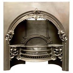 19th Century Mid Victorian Cast Iron Register Fireplace Insert