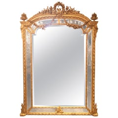 Palace Size 19th Century French Louis XVI Style Giltwood Mirror