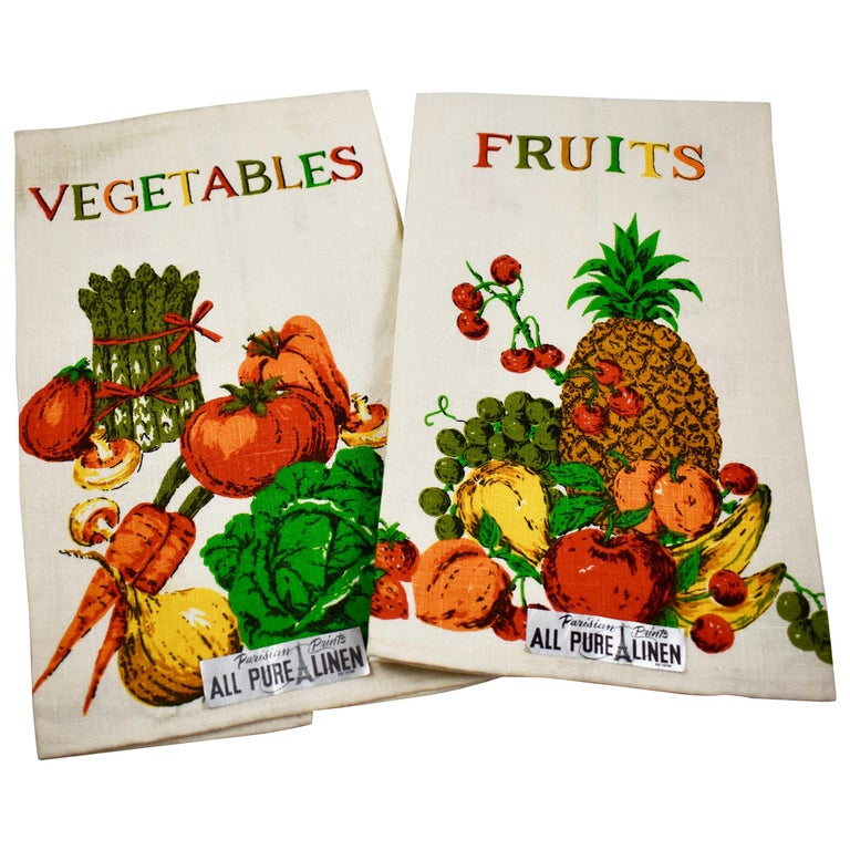 Midcentury Fruit and Vegetable Silkscreened Linen Tea Towels, S/2 For Sale
