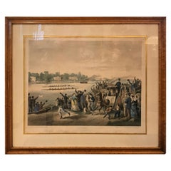 Antique English Hand Colored Copper Engraving Print, 1871