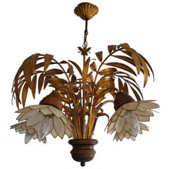 Vintage Palm Leaf Chandelier, 1970s