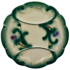 19th Century Digoin French Faïence Barbotine Divided Artichoke Plate