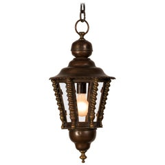 Vintage French Brass Copper Lantern Chandelier, France, circa 1920