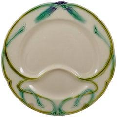 Longchamp Terre de Fer Art Nouveau French Faïence Barbotine Asparagus Plate