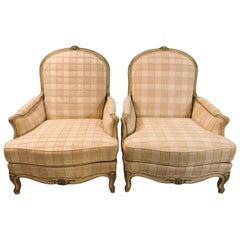 Pair of Paint Decorated Louis XV Style Bergeres Chairs
