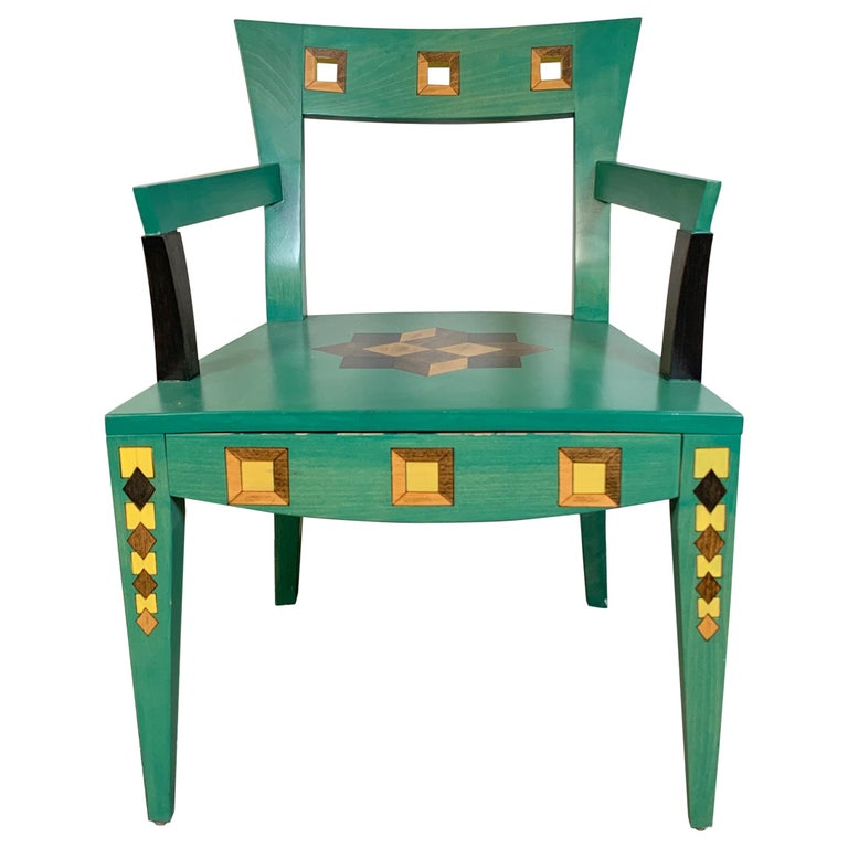 Hand Painted Chair Designed by Katherine Stevens For Sale
