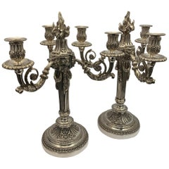 Large 19th Century Silver Plated Bronze Candelabra