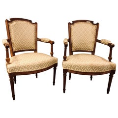 Pair of French Custom Louis XVI Style Carved Bergere, Office or Armchairs