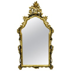 Vintage Italian Gold Giltwood Chinoiserie Japanned Rococo Console Wall Mirror
