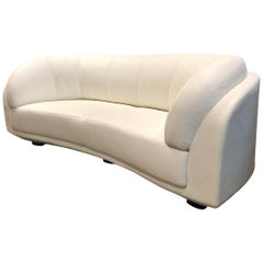 W.Schillig White Leather Arabesque Sofa