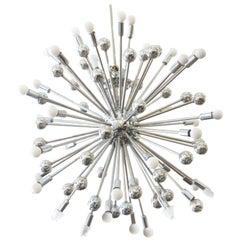 Midcentury Style Chrome Multi-Light Sputnik Chandelier