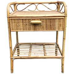 SALE Mid-Century Modern 1970s Cane Wicker Bamboo Bedside Table