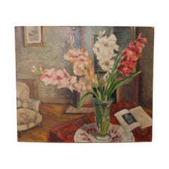 French Vintage Still Life Oil-on-Canvas