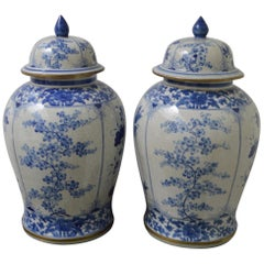 Pair of Large Porcelain Chinese Ginger Jars, circa 1900, Four Floral Facades