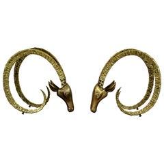 Mid-Century Modern Hollywood Regency Pair of Bronze Ibex Heads, Chervet, 1970s