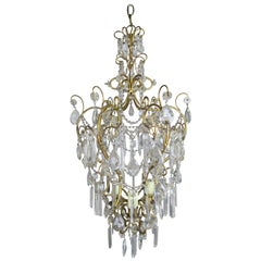 Italian Gilt Metal Crystal Chandelier, circa 1930s