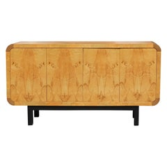Henredon Scene Two Burl Credenza or Sideboard with Ebony and Macassar Accents