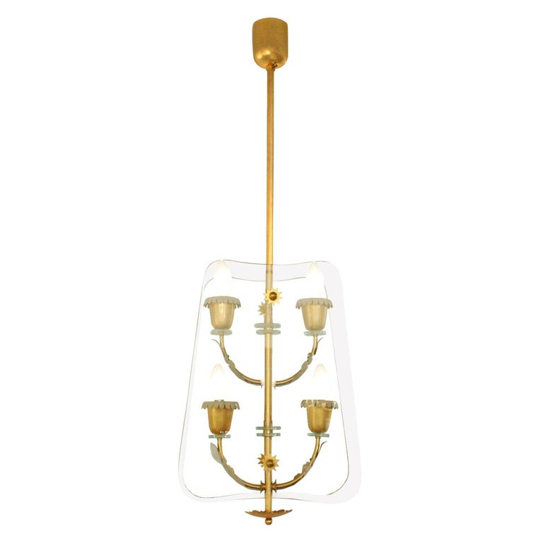 Fontana Arte 4-Light Pendant Brass Chandelier, 1940s For Sale