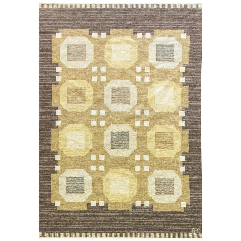 20th Century Swedish Flat-Weave Carpet by Agda Osterberg, Free Shipping For Sale