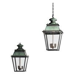 Rare Pair of Large French 19th Century Verdigris Copper Lanterns