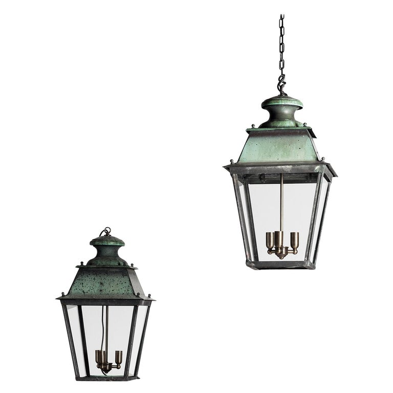 Rare Pair of Large French 19th Century Verdigris Copper Lanterns For Sale