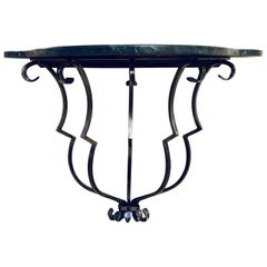 Yale Burge Marble-Top Console with an Art Deco Style Metal Base